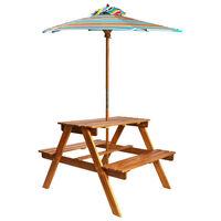 vidaXL Picknickbord för barn med parasoll 79x90x60 cm massivt akaciaträ