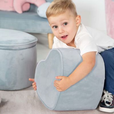 roba Hjärtformad ottoman för barn himmelsblå