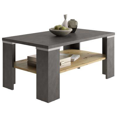 FMD Soffbord med hylla materagrå och artisan-ek