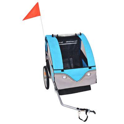 vidaXL Cykelvagn för barn grå och blå 30 kg