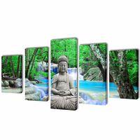 Uppsättning väggbonader på duk: Buddha 100 x 50 cm