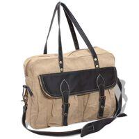 vidaXL Handväska i canvastyg och äkta läder beige