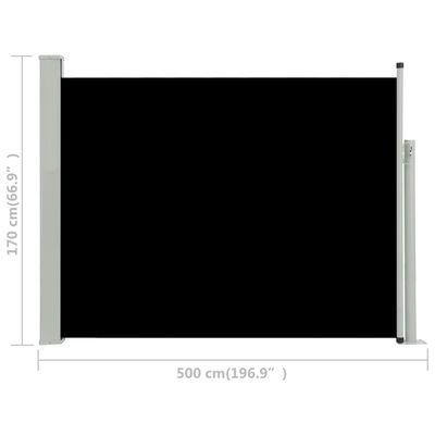 vidaXL Infällbar sidomarkis 170x500 cm svart