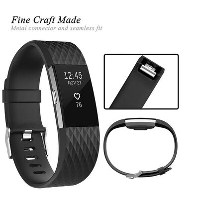 Fitbit Charge 2 armband – Svart - L