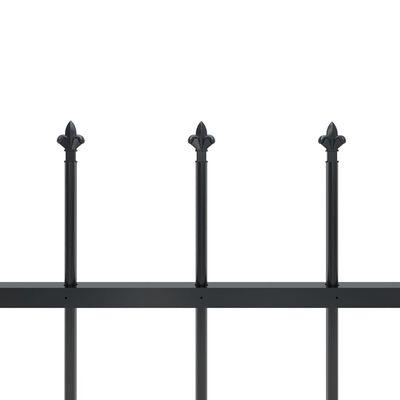 vidaXL Trädgårdsstaket med spjuttopp stål 5,1x1,5 m svart