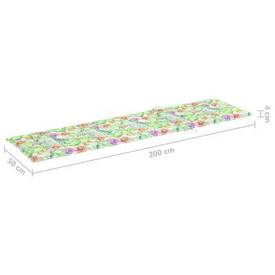 vidaXL Solsängsdyna bladmönster 200x50x4 cm tyg