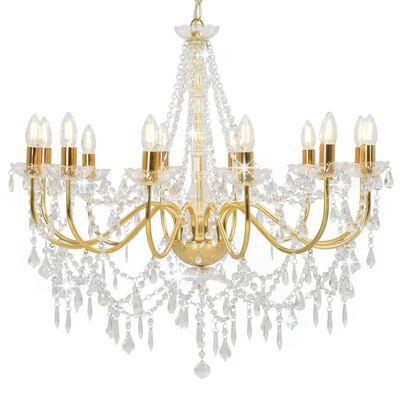 vidaXL Takkrona med pärlor guld 12 x E14-glödlampor
