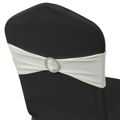 25 st gräddvita dekorativa stolsband med diamantspänne