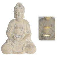 ProGarden Buddha med solcellslampa gräddvit MGO