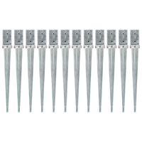 vidaXL Jordspett 12 st silver 8x8x76 cm galvaniserat stål