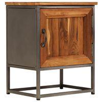 vidaXL Nattduksbord återvunnen teak och stål 40x30x50 cm