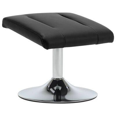 vidaXL Fåtölj med fotpall svart konstläder