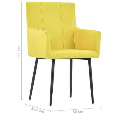 vidaXL Matstolar med armstöd 2 st gul tyg