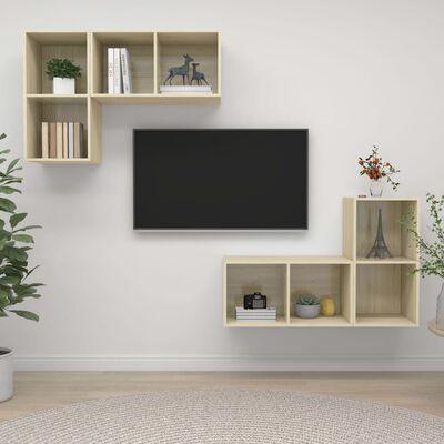 vidaXL Väggmonterade tv-skåp 4 st sonoma-ek spånskiva