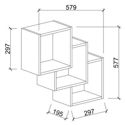 Homemania Vägghylla Three Box 57,9x19,5x57,7 vit