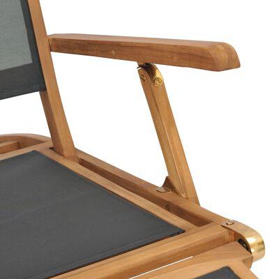 vidaXL Däckstol med fotstöd massiv teak svart