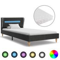 vidaXL Säng med LED och memoryskummadrass mörkgrå säckväv 90x200 cm