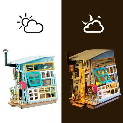 Robotime DIY Miniatyrkit Wooden Hut med LED-lampa