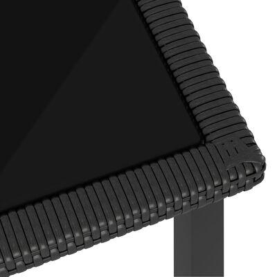 vidaXL Matgrupp för trädgården 9 delar konstrotting svart