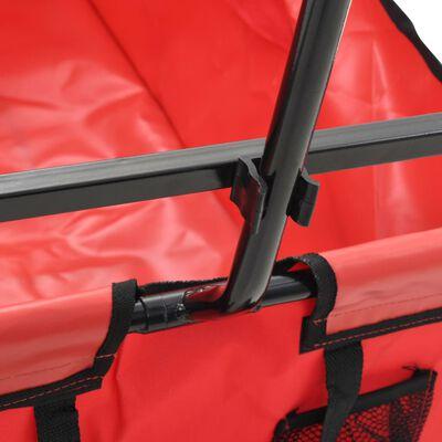 vidaXL Hopfällbar handvagn stål röd, Red