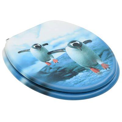 vidaXL Toalettsitsar med lock 2 st MDF pingvin
