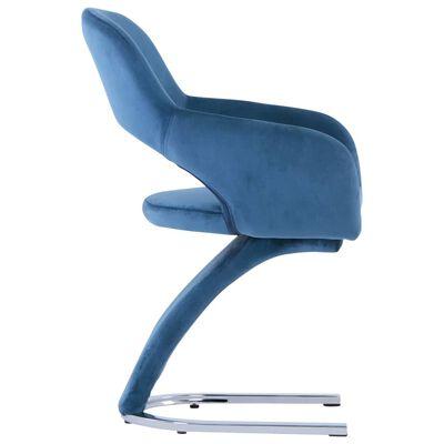 vidaXL Matstolar 2 st blå sammet