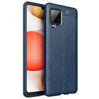 Läder Mönstrat Tpu Skal Samsung Galaxy A42-blå