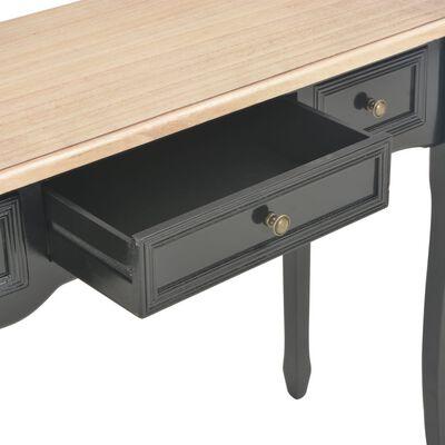 vidaXL Konsolbord med 3 lådor svart