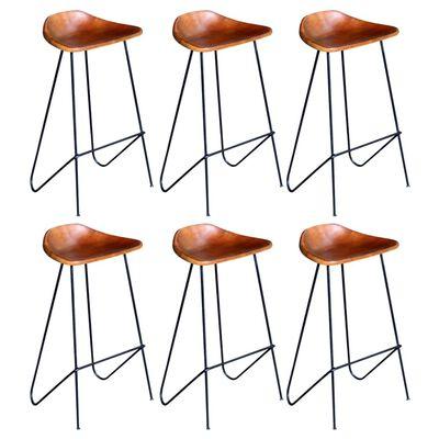 vidaXL Barstolar 6 st brun äkta läder