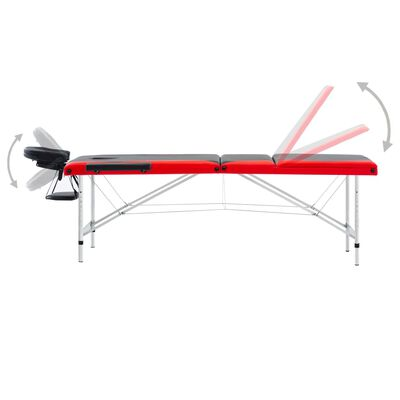 vidaXL Hopfällbar massagebänk 3 sektioner aluminium svart och röd
