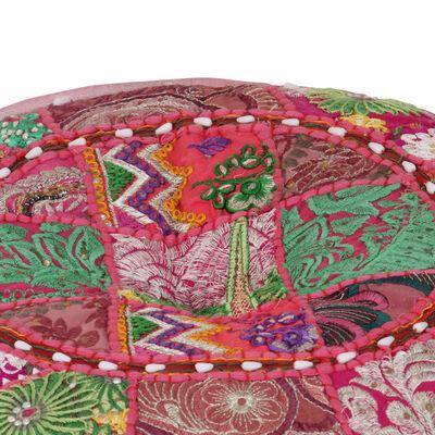 vidaXL Sittpuff med lappmönster rund bomull handgjord 40x20 cm rosa