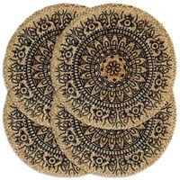 vidaXL Bordstabletter 4 st mörkblå 38 cm rund jute