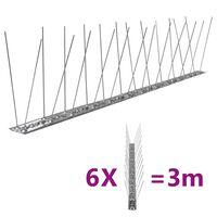 vidaXL 2-raders Fågelpiggar i rostfritt stål 6 st 3 m