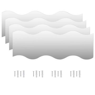 vidaXL Väggspeglar 4 st 60x18,5 cm vågformade