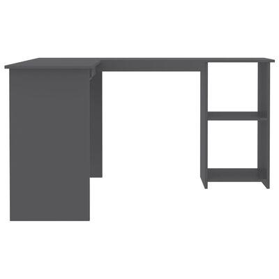vidaXL Skrivbord L-format grå 120x140x75 cm spånskiva