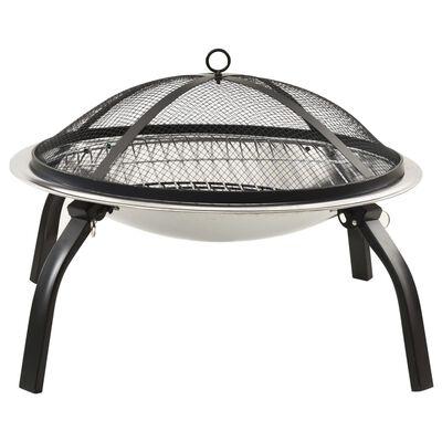 vidaXL 2-i-1 Eldstad grill och eldgaffel 56x56x49 cm rostfritt stål
