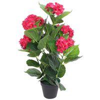 vidaXL Konstväxt Hortensia med kruka 60 cm röd