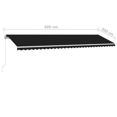 vidaXL Fristående markis manuellt infällbar 600x300 cm antracit