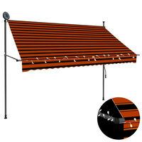 vidaXL Markis manuellt infällbar med LED 250 cm orange och brun