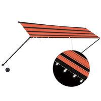 vidaXL Markis med LED 400x150 cm orange och brun