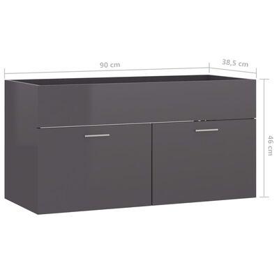 vidaXL Tvättställsskåp grå högglans 90x38,5x46 cm spånskiva