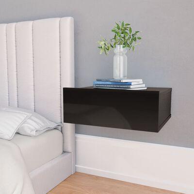 vidaXL Svävande sängbord 2 st svart högglans 40x30x15 cm spånskiva