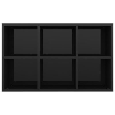vidaXL Bokhylla/skänk svart högglans 66x30x97,8 cm spånskiva