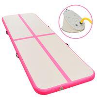 vidaXL Uppblåsbar gymnastikmatta med pump 400x100x10 cm PVC rosa
