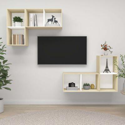 vidaXL Väggmonterade tv-skåp 4 st vit och sonoma-ek spånskiva