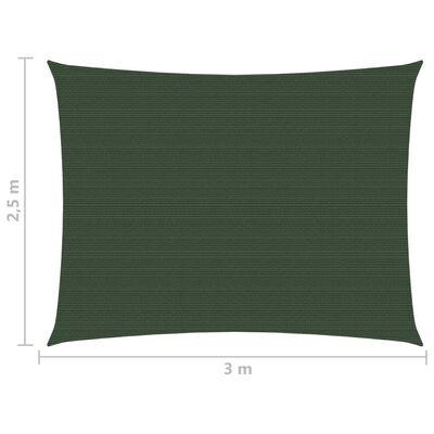 vidaXL Solsegel 160 g/m² mörkgrön 2,5x3 m HDPE