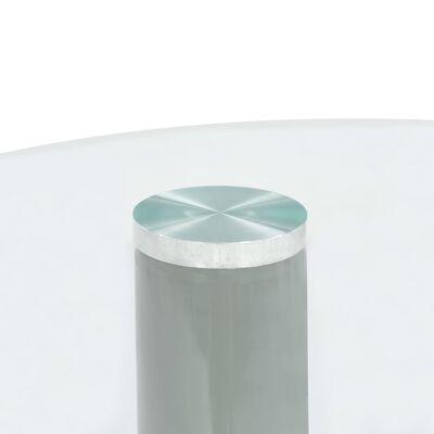 vidaXL Soffbord 2 st med rund bordsskiva i glas högglans grå