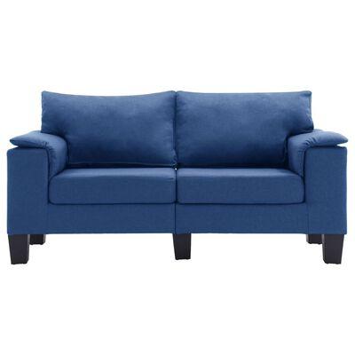 vidaXL 2-sitssoffa blå tyg