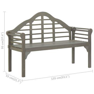 vidaXL Trädgårdsbänk med dyna 135 cm massivt akaciaträ grå
