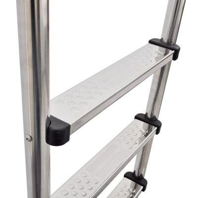 vidaXL Poolstege 3 steg rostfritt stål 120 cm